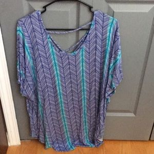 Blue and green striped blouse